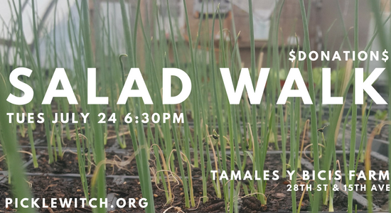 Salad walk flyer with white text on green onoins