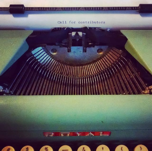 "Typewriter with page that reads ""Call for contributors"""